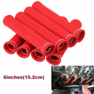 RED 8PCS 1200° SPARK PLUG WIRE BOOTS HEAT SHIELD PROTECTOR SLEEVE SBC BBC 350