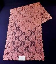 "Vintage NOS PINK FLORAL LACE Table Runner or Dresser Scarf, 42"" x 15"""