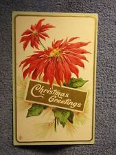Vintage Postcard Christmas Greetings, Poinsettias