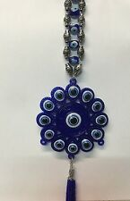 BLUE EVIL EYE ON LUCKY CHARM  CAR HANGING WALL HANGING AMULET DECORATION