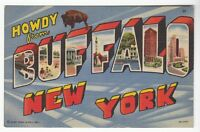 [55066] OLD LARGE LETTER POSTCARD HOWDY FROM BUFFALO, NEW YORK