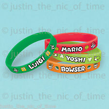 SUPER MARIO BROS Boys Birthday Party Bag Fillers Gifts RUBBER BRACELETS x6