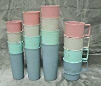 Vtg Tupperware Set of Textured Pastel Tumblers & Mugs 16 pc 4 Sizes Stacking EC