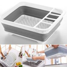 Kitchen Collapsible Dish Drainer Drying Rack strainer Cups Plates utensils Tray