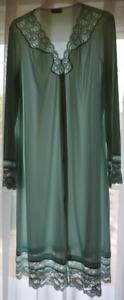 RAR!Vintage 60's Vanity Fair green lace nylon Robe Pegnoir Negligee S:M(EU:M-L)