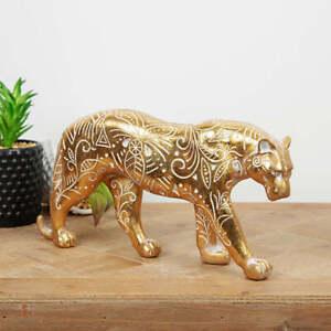 Big Cat Figurine, Jaguar, wood effect resin, 30.5cm, figurine ornament, gold