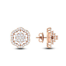 Pave 0.69 Cts Natural Diamonds Stud Earrings In Fine Certified 14Carat Rose Gold