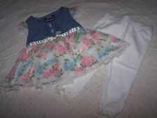 Girls 3/6 Mo~Outfit~Top & Legging~Denim/Multi/White~DDG Darlings/$Gen~NWT~D21