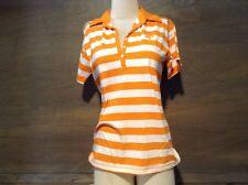 WOMENS ORANGE/White Striped POLO 100% Cotton TENNESSEE CAMPUS SPECIALTIES M