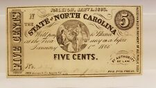 1863 5c Note From State Of North Carolina, Uncirculated, Numbered & Signed.
