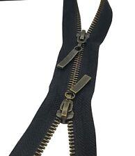2 Way METAL Zip Antique Brass Size #5 Open End Double Slider Strong Fastener UK