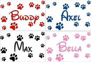 Personalised Pet Dog Name With Paw Print Deco Vinyl Wall Sticker Decal Disney