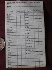 VINTAGE UNUSED CHAMPION SPARK PLUG ORDER CARD FROM 1974 USA