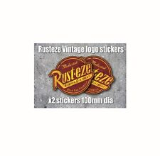 x2 Rusteze Retro logo vinyl sticker 100mm dia decal Euro style Rusteze 2