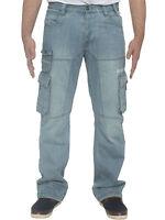 New Mens ENZO Regular Cargo Combat Denim Jeans Pants All Waist Sizes Big King