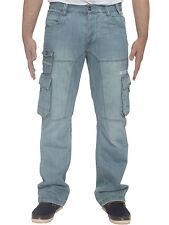Nuevo Enzo Hombre Holgado Pantalón Militar Vaqueros Cargo Pantalones Denim &