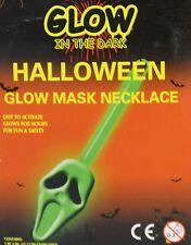 Glow In The Dark Halloween Glow Stick Pendant Necklace - Green Ghoul Skull