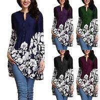 Plus Size UK Women Boho Floral Long Sleeve Blouse Baggy Tops Tunic Dress T Shirt