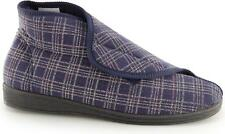Sleepers Brett II Mens Extra Wide Washable Velcro Comfy Boot Slippers Navy Blue UK 10