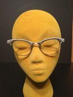 Vtg Cat Eye Glasses Aluminum Silver Metal Frame Etched