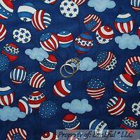 BonEful FABRIC FQ Cotton Quilt Navy Blue Red White Stripe Star S America Balloon
