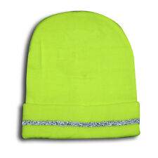 Hi Vis Lime Beanie With Reflective Stripe