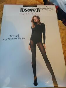 Wolford Travel Leg Support Tights, Small, Anthracite, 40 denier, Slight 2nd