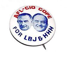 1964 AFL-CIO LYNDON B JOHNSON LBJ Humphrey campaign pin pinback button political
