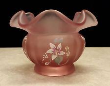 Fenton Ruffled Edge Vase Hand Painted Daisies on Empress Rose Satin 2987 CD