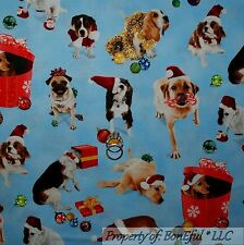 BonEful FABRIC FQ Cotton Quilt Blue White Red Xmas Puppy Dog Santa Hat Gift Box