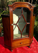 "Antique Apprentice Piece Mahogany Display Cabinet Inlaid 20.5"" tall by 15""across"