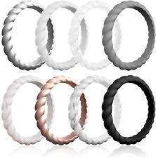 Roq Silicone Wedding Ring For Women, Affordable Braided Stackable Silicone Rubbe