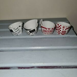Matalan Dine With Friends 4 Red & White and Black & White Dips Pots