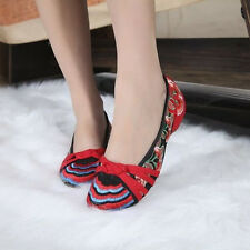 Women Chinese Embroidered Flower Flat Shoes Mary Jane Cotton Floral Loafer shoes
