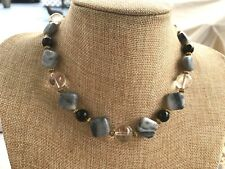 Handmade Necklace Clear Quartz Crystal, Black Obsidian & Gray Black Marble Beads