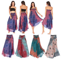 Women Long Hippie Bohemian Skirt and Dress Boho Clothes Flowers Prints