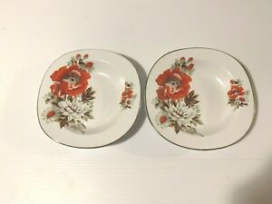 VINTAGE ALFRED MEAKIN GLO WHITE IRONSTONE SMALL DISHES X 2 RED FLOWER ENGLAND