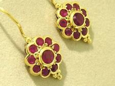 E106 Genuine 9K SOLID Yellow Gold NATURAL Ruby Blossom Earrings Classic Cluster