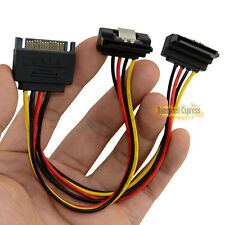 SATA 15 Pin Male to 2 Splitter Female 90 Degree Power Adapter Cable Hard Drive