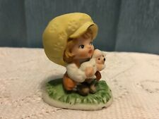 Girl With Lamb Big Yellow Hat Vintage Lefton China Hand Painted Model 869 Mint !