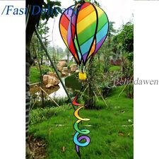 Striped Rainbow Windsock Hot Air Balloon Wind Spinner Multi-Colored Garden Decor
