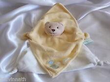 Doudou ours beige, jaune (tricot) dessous triangle blanc tissu, Döta