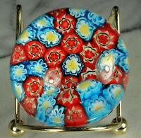 ITALIAN MILLEFIORI Paperweight MURANO CANE Art Glass Red Blue Yellow White