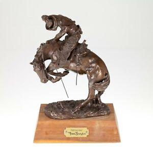 "Frederic Remington ""Rattlesnake"" 9"" Bronze Statue on Wood Mount"