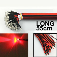 US Stock 50pcs Pre wired 5mm RED LEDs 55cm Prewired 12V LED Lamp Bulb 55cm