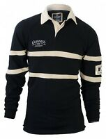 Guinness Traditional Rugby Jersey Mens Irish Ireland Embroidered Black & Cream