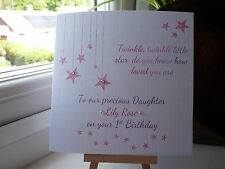 Handmade Personalised 1st Birthday Card Girls Daughter 2 3 Twinkle Twinkle Niece