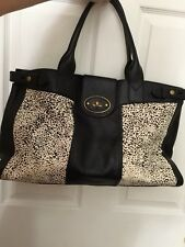 EUC! Fossil Vintage Re-Issue Large Leather/Calf Hair Weekender Tote