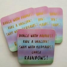 Set of 4 Pastel Colour Coasters Dance With Fairies Swim With Mermaids Rainbows