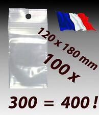 LOT 100 sachet zip pochette pochon plastique 120x180 12x18 qualite alimentaire f